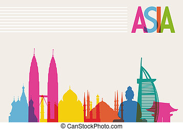 Diversity monuments of Asia, famous landmark colors transparency. Vector file organized in layers for easy editing.