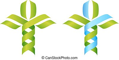 DNA Tree symbol, a DNA double helix growing into a stylised plant tree shape. Great for medical, science, research or other nature related use.