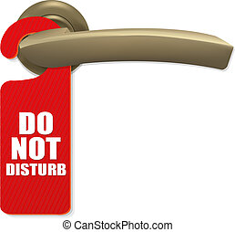 Do Not Disturb Sign With Copper Door Handle With Gradient Mesh, Isolated On white Background, Vector Illustration