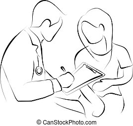 doctor is writing the medical record from patient that stomach ache