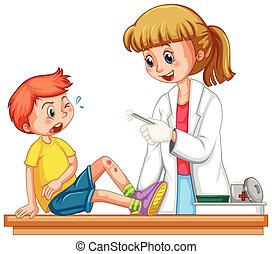 Doctor cleanin up the wound of boy illustration