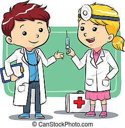 Kids playing to be a doctors. Vector EPS8 file