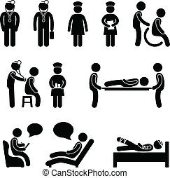 A set of human figure showings doctor, nurse, and patient in a hospital.