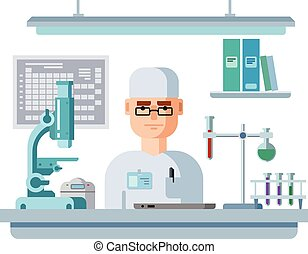Doctor sits in the laboratory. Healthcare and medical research flat Vector illustration