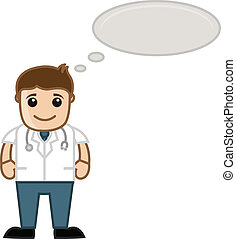 Drawing Art of Cartoon Doctor Thinking Concept Vector Illustration
