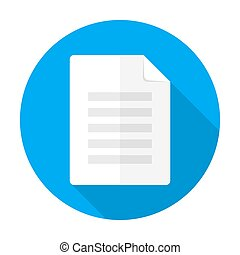 Vector illustration of document. Flat circular icon with long shadow.