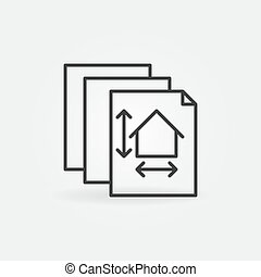 Documents with House Project linear vector concept icon