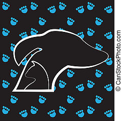 Dog and cat and paws print logo
