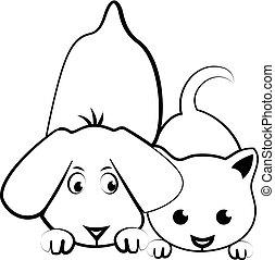 Dog and cat cartoon logo