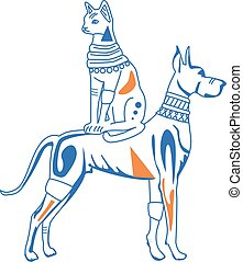 Dog and cat characters in Egyptian style