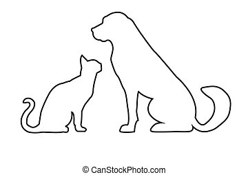 Simplified silhouettes of dog and cat