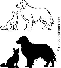 Illustration of two dog and a cat black and white graphics. One is in an outline drawing form and the other is in silhouette form.