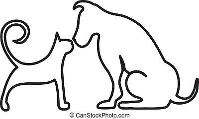 Dog and cat kissing logo