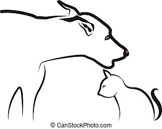 Dog and Cat, line art, vector