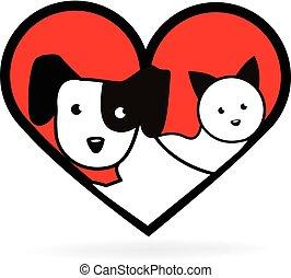 Dog and cat love heart shape logo