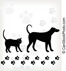 Dog and cat on white background. Vector