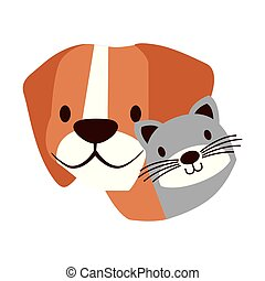 dog and cat pet on white background