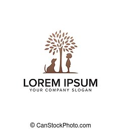 Dog and child tree logo design concept template.
