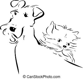 dog and kitty silhouettes