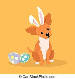 Dog as easter hare with easter eggs.
