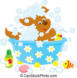 Funny brown pup washing in a small bath, vector illustration