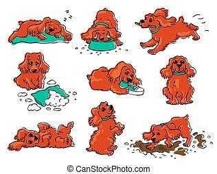 Dog behavior drawing set - cartoon orange puppy sleeping, eating, playing