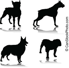 dog black vector silhouettes