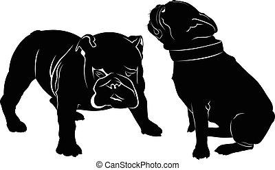 Dog Bulldog. The dog breed bulldog. Dog Bulldog black silhouette vector isolated on white background. Dog pug. Meeting two dogs of a bulldog and a pug