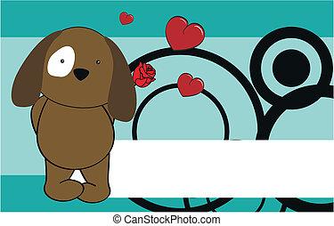 dog cartoon cute rose background