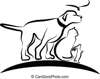 Dog, cat, and bird, line art vector