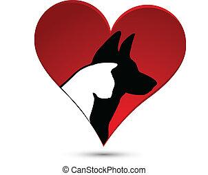 Dog cat and heart logo