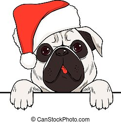 Dog wearing red Christmas hat with empty white banner