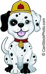 Mascot Illustration Featuring a Cute Little Dalmatian Wearing a Fireman Hat