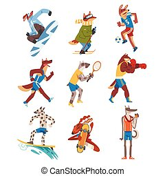 Dog Doing Various Kinds of Sports Set, Animals Athletes Characters Wearing Uniform Doing Sports Vector Illustration
