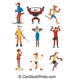 Dog Doing Various Kinds of Sports Set, Sportive Animals Characters Wearing Uniform Doing Sports Vector Illustration