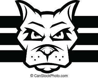 Pit bull or american bulldog dog face outline