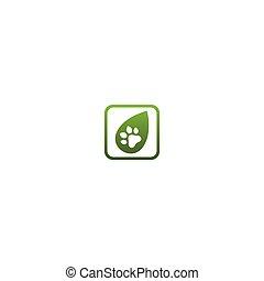 Dog footprint combine leaf logo design concept