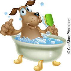 An illustration of a cute cartoon dog mascot character having a bath in a bubble bath with back scrubber