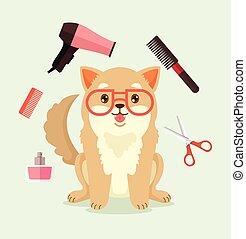 Dog grooming. Happy dog character. Vector flat cartoon illustration