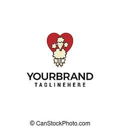 dog heart logo design concept template vector