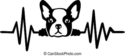 Dog heartbeat line with french bulldog