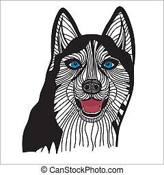 Dog husky head vector Graphics
