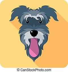 Vector dog Miniature Schnauzer breed icon flat design