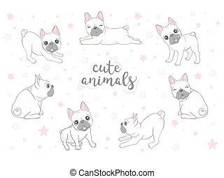 Dog icon french bulldog illustration vector dog breed doodle