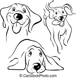 dog illustration - black line on white background