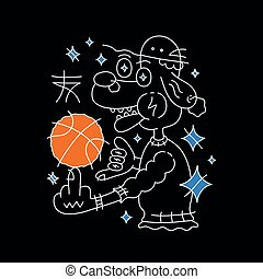 Dog in hat with basketball ball. Vector