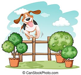 Dog jumping over the wooden fence on a white background