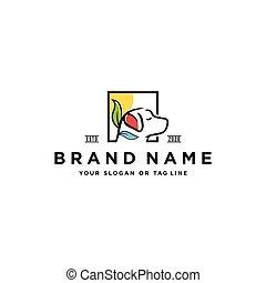 dog leaf logo design vector