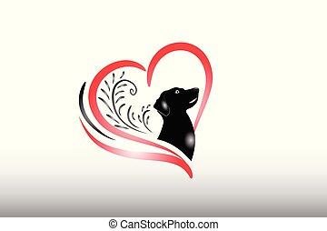 Dog love heart logo