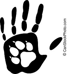 Dog - man's best friend. Handprint human and animal paw print. Vector illustration. Isolated on white background